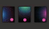 Neon halftone abstract flyer design set, vector illustration.