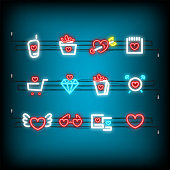 Neon happy Valentines Day set icon