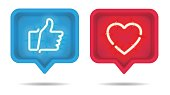 Neon heart and Thumb up, Like with on and off tubes in 3D speech bubble, vector illustration