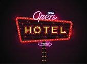 Neon hotel sign, set vertically text, Vector illustration