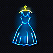 Neon icon of female dress on hanger. Fashion boutique or girly concept. Design element for glowing night signboard style. Isolated on dark background. Vector 10 EPS illustration.