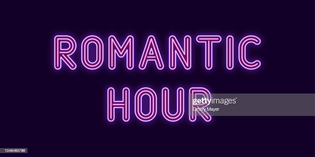 Neon inscription of Romantic Hour. Vector