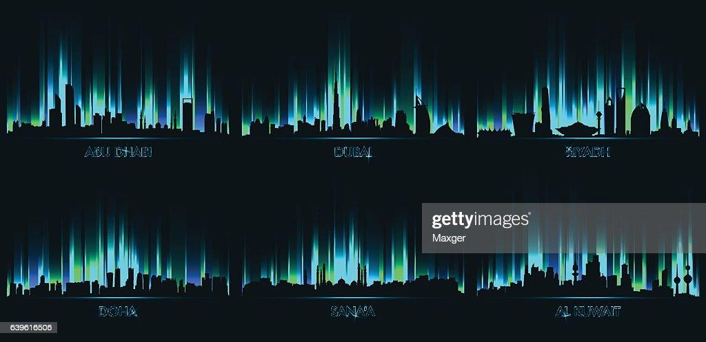 Neon сity skyline Abu Dhabi, Dubai, Riyadh