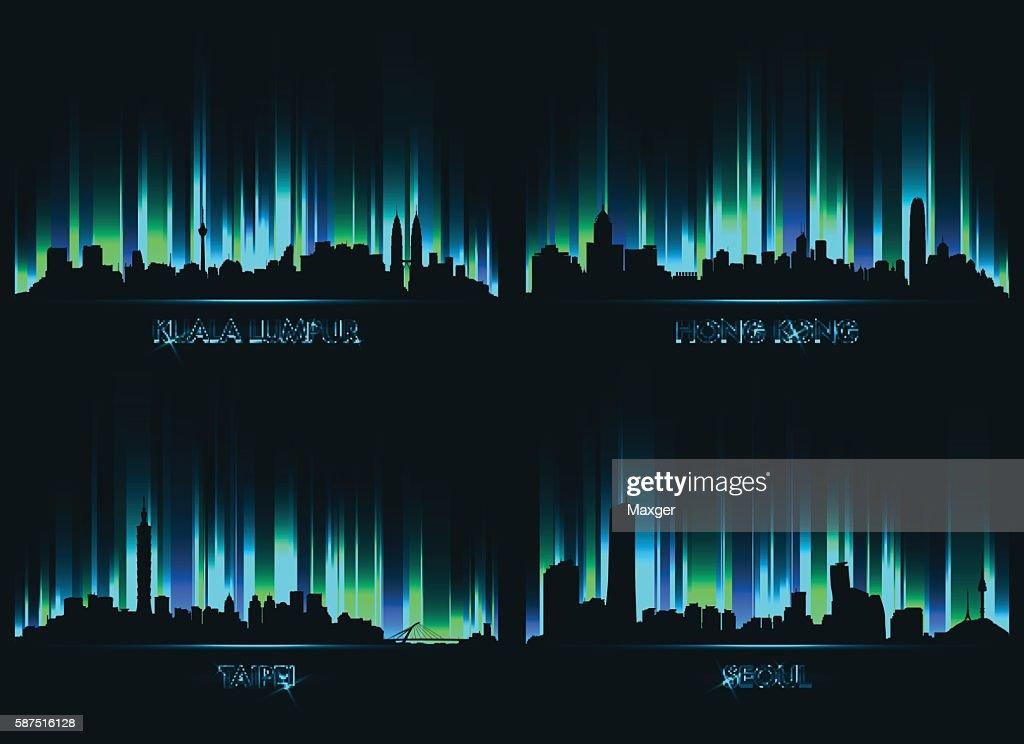 Neon сity skyline Kuala Lumpur, Hong kong, Taipei, Seoul