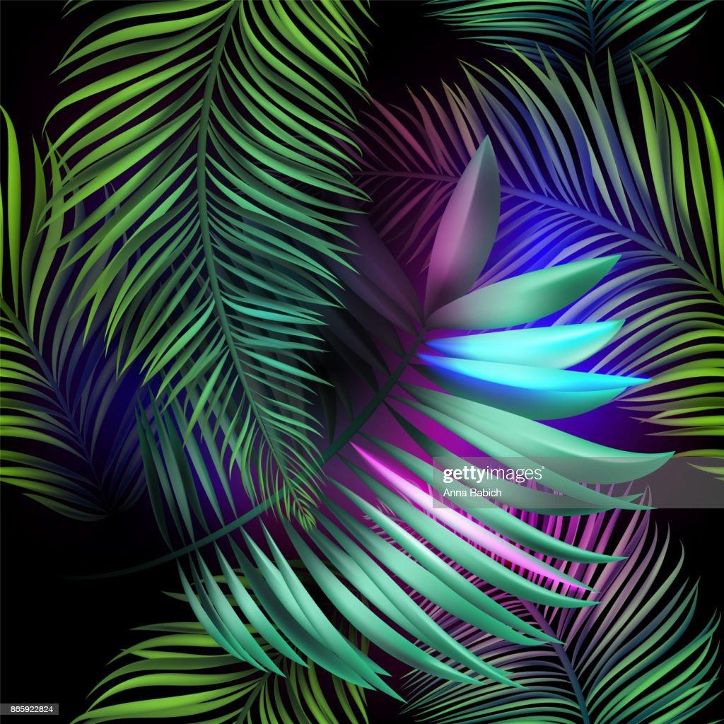 Neon jungle, electric tropical glitch summer seamless pattern