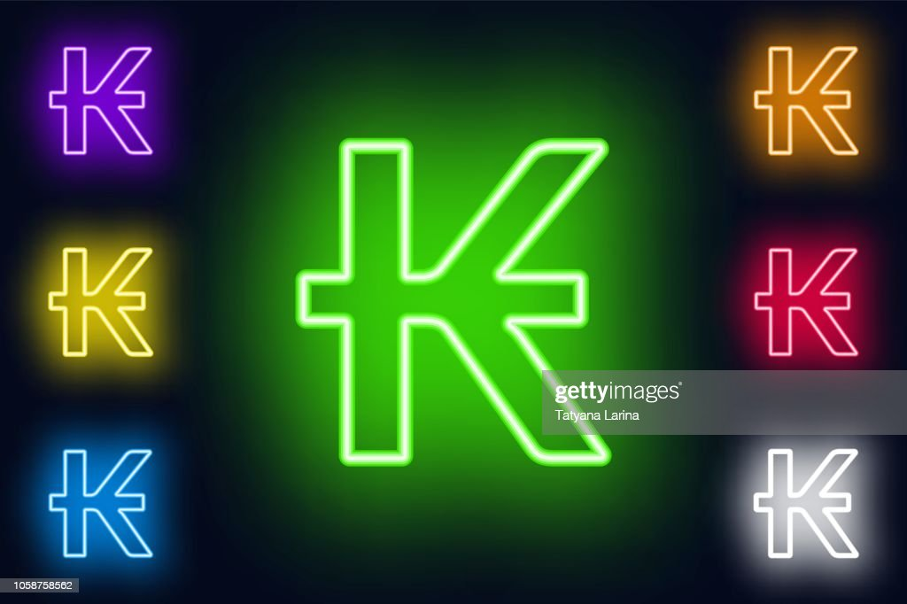 Neon Lao kip sign in various color options on a dark background .