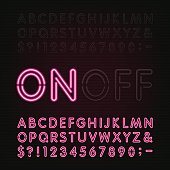 Neon Light Alphabet Font. Two different styles.