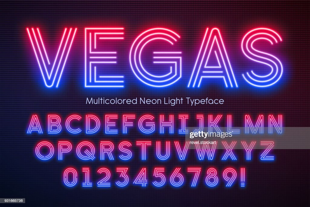 Neon light alphabet, multicolored extra glowing font