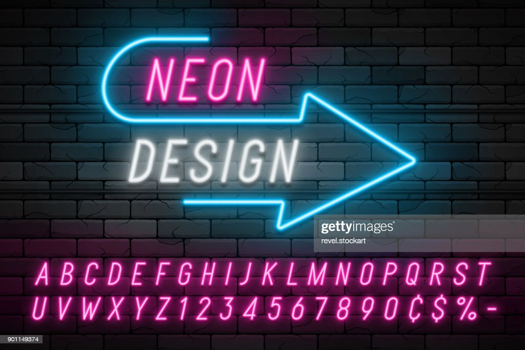 Neon light alphabet, realistic extra glowing font. Exclusive swatch color control.