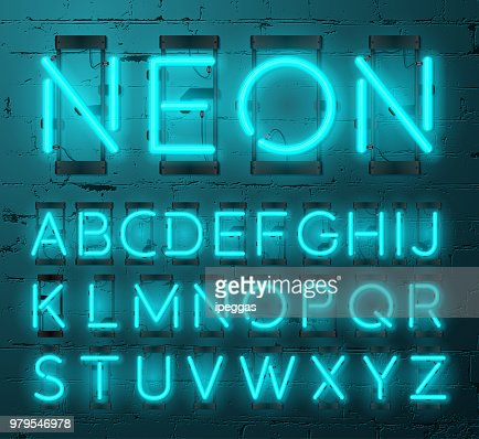 Neon Light Alphabet Vector Font Type Letters Neon Tube