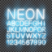 Neon light Font vector transparent background