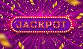 Neon light jackpot retro signboard and golden foil confetti against a light burst background. Vector illustration. Jackpot light bulb frame signboard. Jackpot logo.