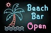 Neon light with word beach bar open