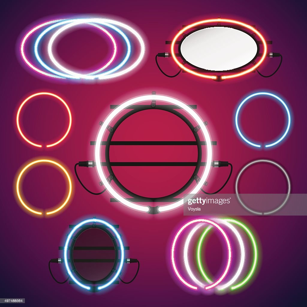Neon Lights Round Frames Set
