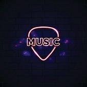 Neon music shop sign with plectrum. Glowing guitar shop vector emblem
