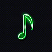 Neon musical note isolated on dark background. Design element for music concept: logo, banner, flyer. Vector 10 EPS illustration.
