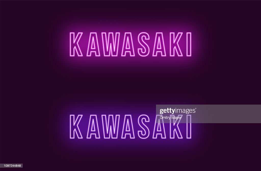 Neon name of Kawasaki city in Japan. Vector text