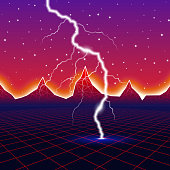 Neon new retro wave computer landscape with lightning