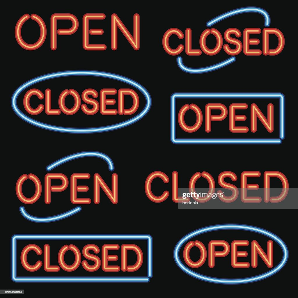 Neon 'Open' and 'Closed' Sign Set : stock illustration