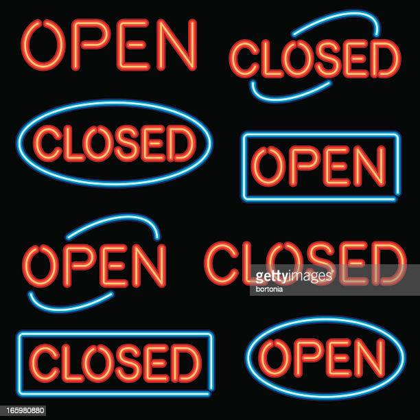 neon 'open' and 'closed' sign set - open stock illustrations