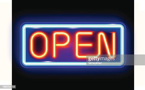 neon open sign - open stock illustrations