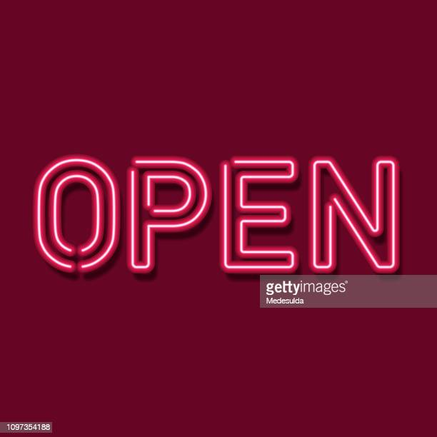 neon open sign vector - open sign stock illustrations, clip art, cartoons, & icons