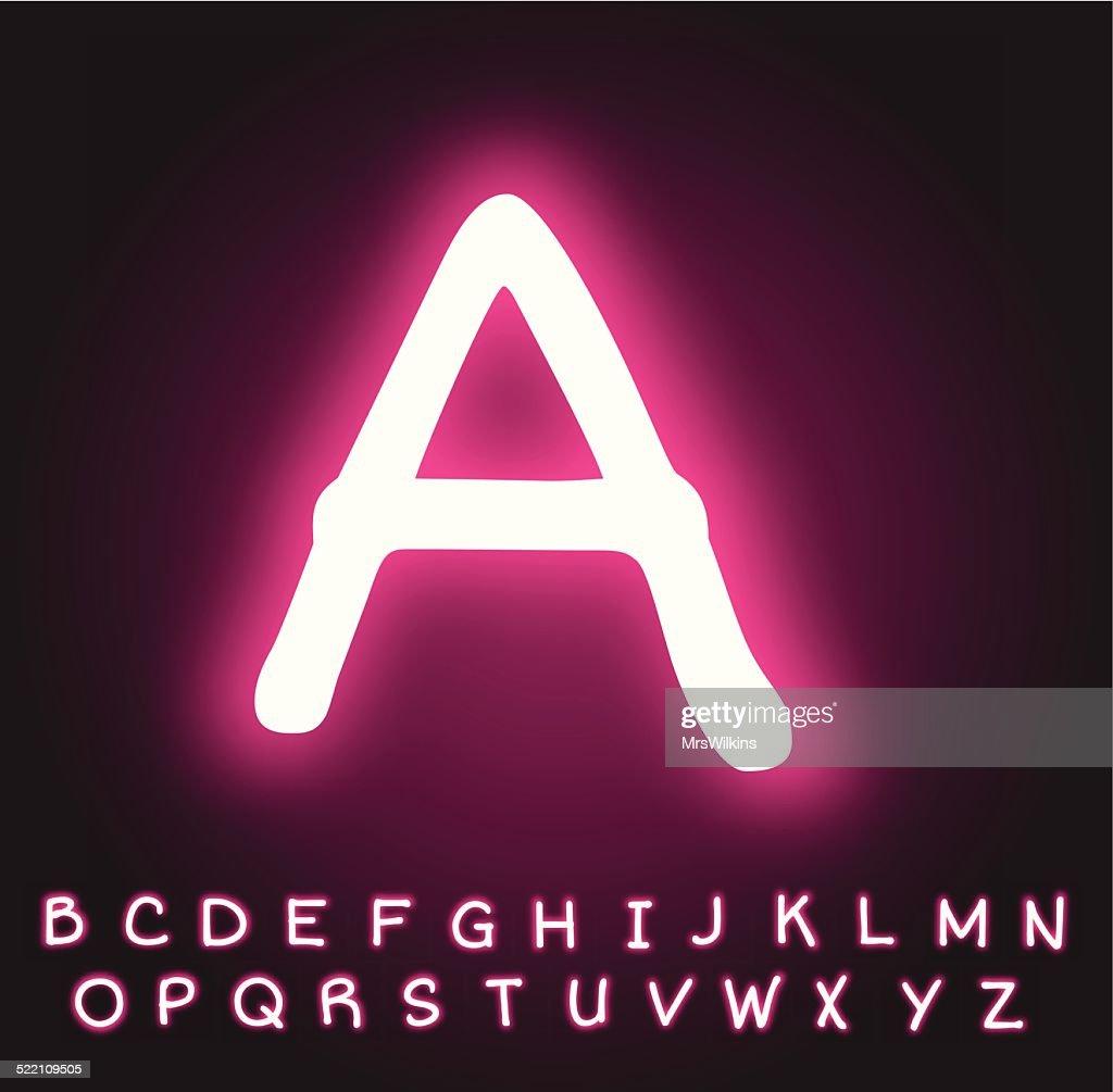 Neon pink alphabet vector