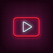 Neon Play vector logo. Play button