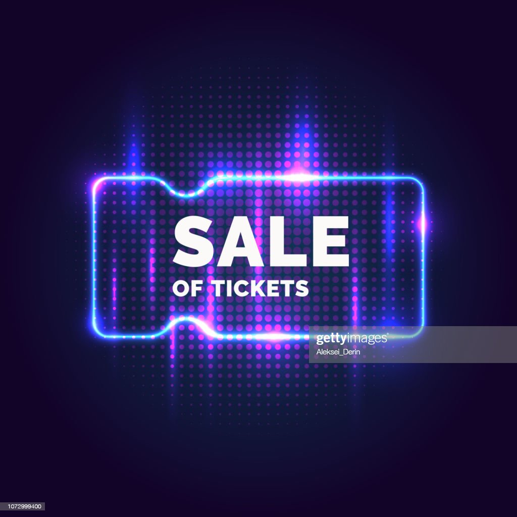Neon poster Sale of tickets. Modern graphics, Discounts on plane.
