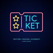 Neon poster Sale of tickets. Modern vector graphics