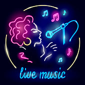 Neon poster with girl singing to microphone on dark background. Glolwing sign of live music with singer and notes. Vector 10 EPS illustration.