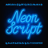 Neon script alphabet font. Blue neon uppercase and lowercase letters.