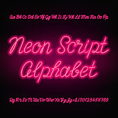 Neon script alphabet font. Handwriting neon uppercase and lowercase letters.