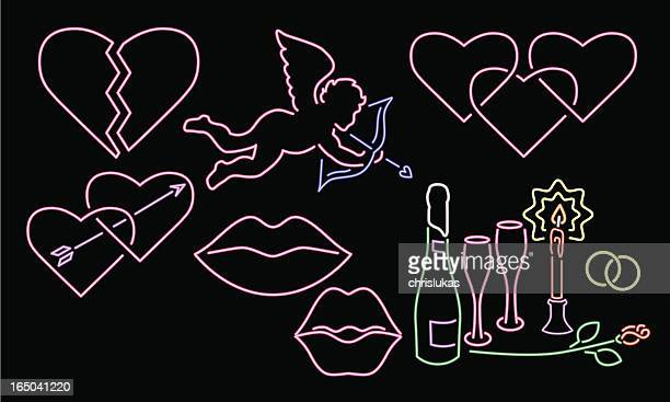 ilustrações, clipart, desenhos animados e ícones de neon série 3-love - lábio