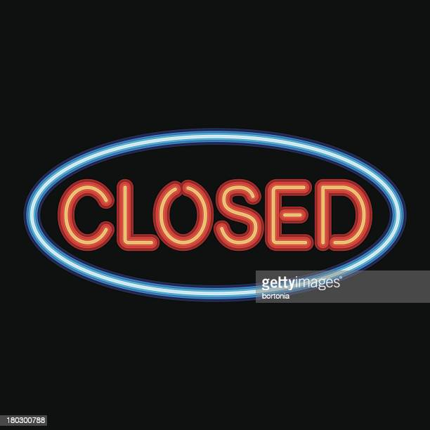neon sign closed icon - closed sign stock illustrations, clip art, cartoons, & icons