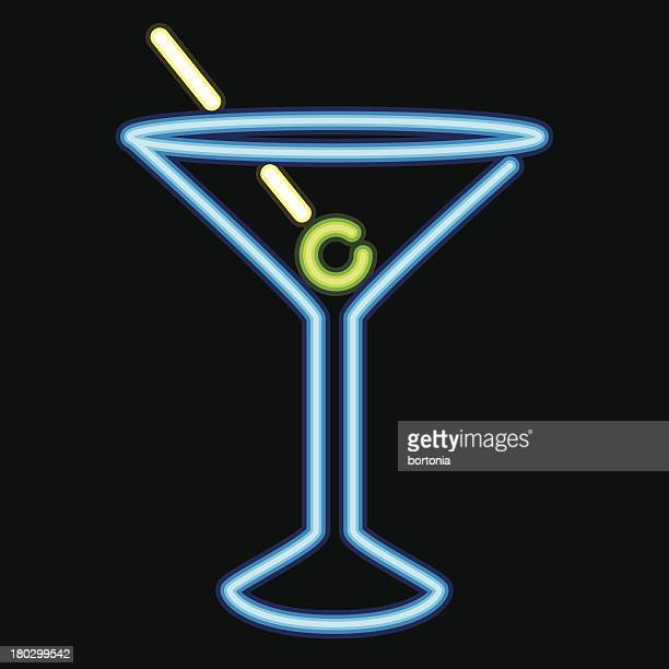 neon sign cocktail lounge icon - martini stock illustrations