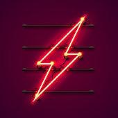 Neon sign of lightning signboard.