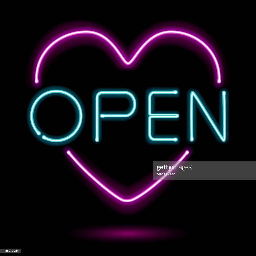 Neon sign open heart vector illustration