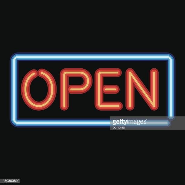 neon sign open icon - open sign stock illustrations, clip art, cartoons, & icons