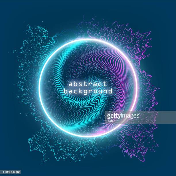 neon sign. round frame with glowing and light. electric bright 3d circuit banner design on dark blue backdrop. neon abstract circle background. vector illustration. eps10 - signal flare stock illustrations, clip art, cartoons, & icons