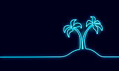 Neon sign single continuous line art coconut tree palm. Tropic paradise island landscape design one sketch outline signboard light banner drawing vector illustration