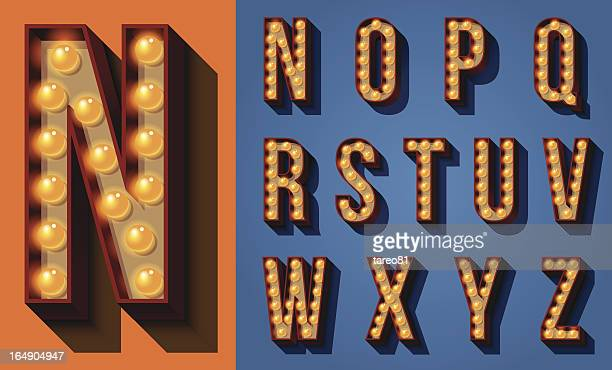 neon sign type - alphabet stock illustrations