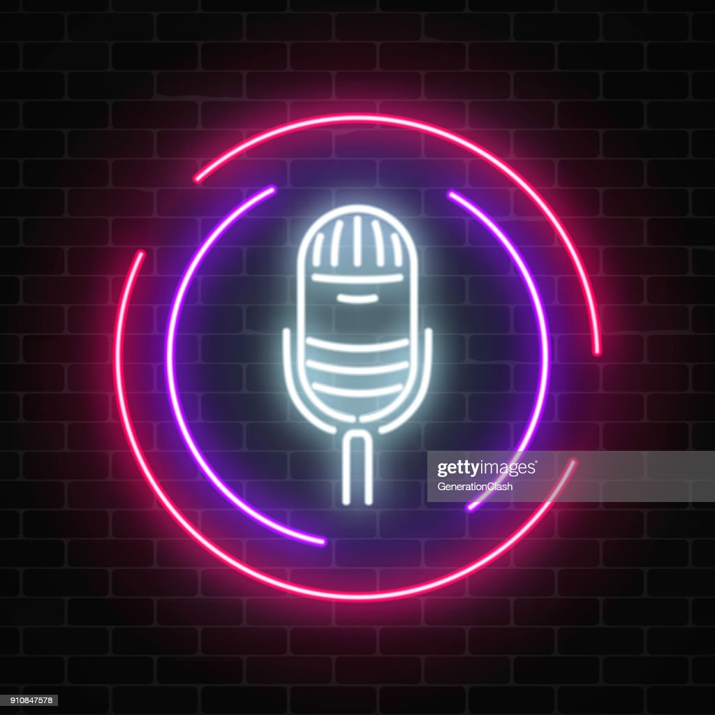 Neon sign with microphone in round frame. Nightclub with live music icon.