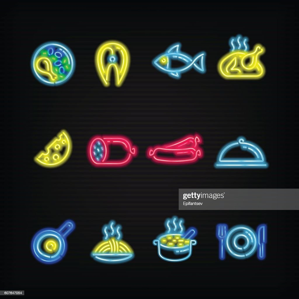 Neon signs. The symbols of different food.
