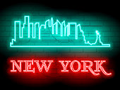 Neon silhouette of New York (United States) city skyline vector background. Neon style sign illustration. Illustration for t shirt printing or wall decoration.