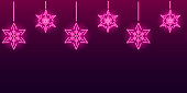Neon snowflakes seamless pattern on dark purple background. Christmas and New Year concept. Vector 10 EPS illustration.
