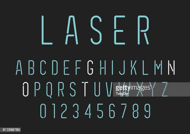 neon style lettering - alphabet set - number stock illustrations