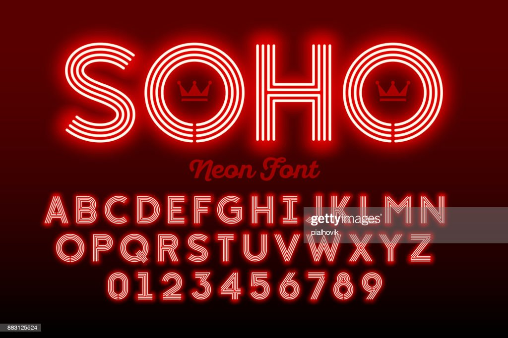Neon style modern font
