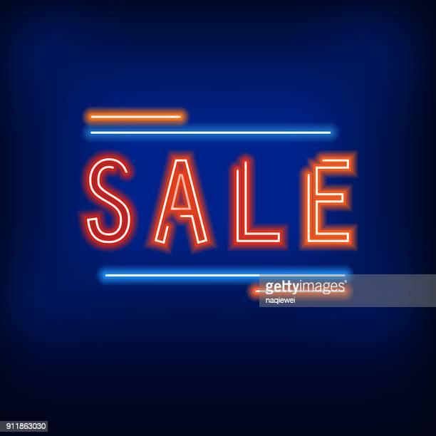 ilustraciones, imágenes clip art, dibujos animados e iconos de stock de estilo venta de neón - doble exposicion negocios