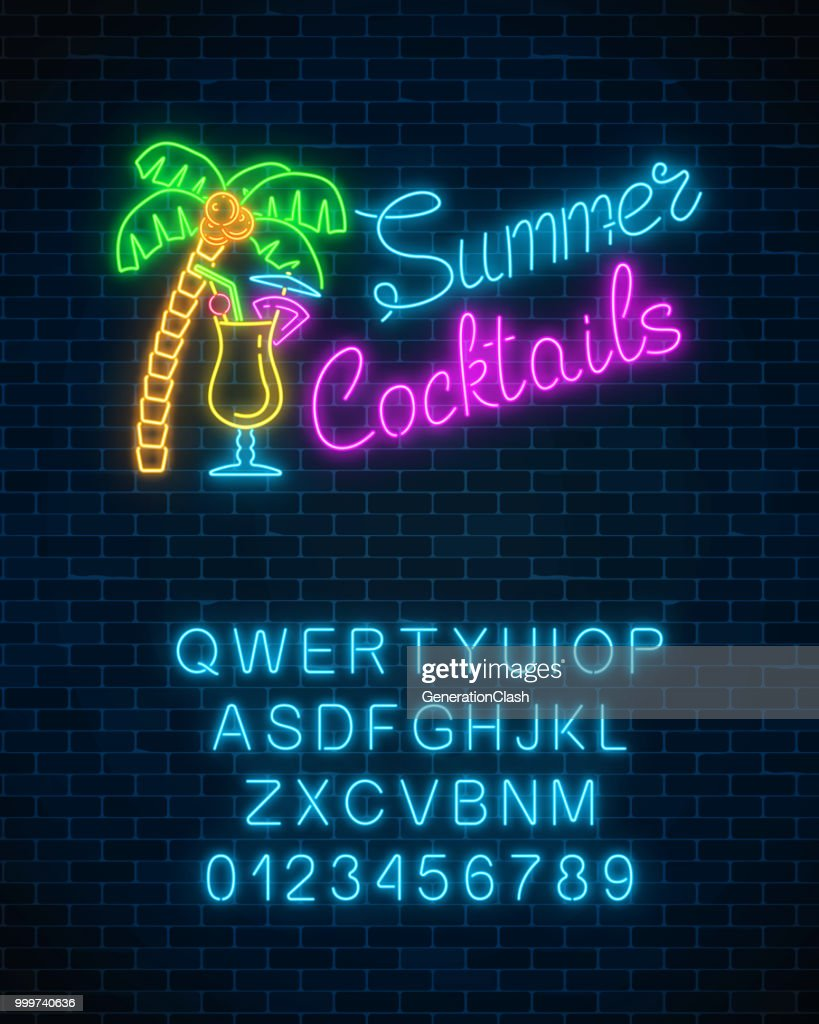 Neon summer cocktail bar sign with alphabet. Glowing gas advertising with pina colada alcohol shake and palm